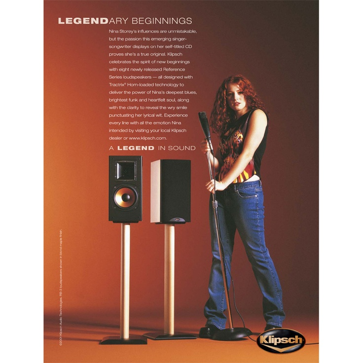Nina Storey, a true original, stands tall with a microphone and a pair of Klipsch speakers in an ad promoting Klipsch's Reference Series. For more information the Klipsch Reference Series, go to http://www.klipsch.com/reference