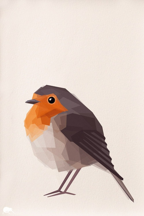 Robin, Geometric, Minimal, Bird print, Original illustration, Art, A4, A3, A6, A5. $16.00, via Etsy.