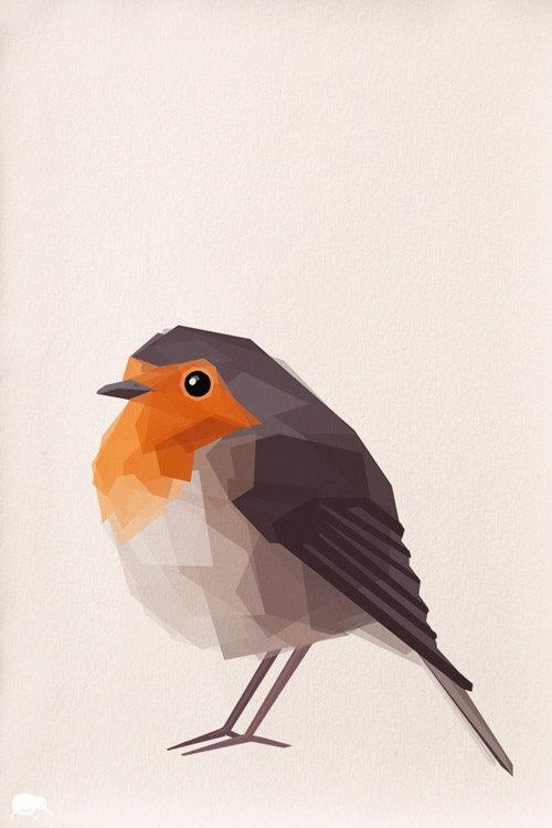 Robin 2 Geometric Minimal Bird print Original by TinyKiwiCreations
