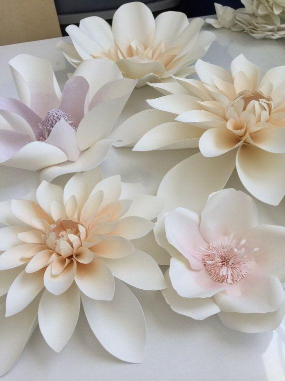 Large watercolor paper flowers set of 12 by LovePaperBlooms