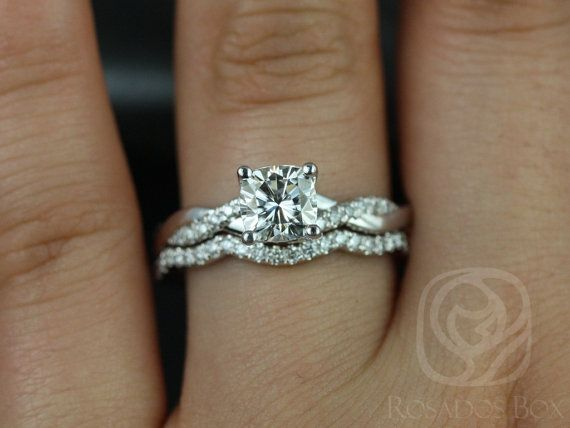Tressa 6mm 14kt White Gold Cushion FB Moissanite and Diamonds Twist Wedding Set(Other Metals and Stone Options Available)