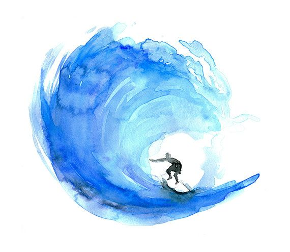 Wave watercolor painting - Giclee print Surf art surfboard painting  Aqua Blue Zen drawing by Michelle Dujardin Surf watercolour Aquarelle