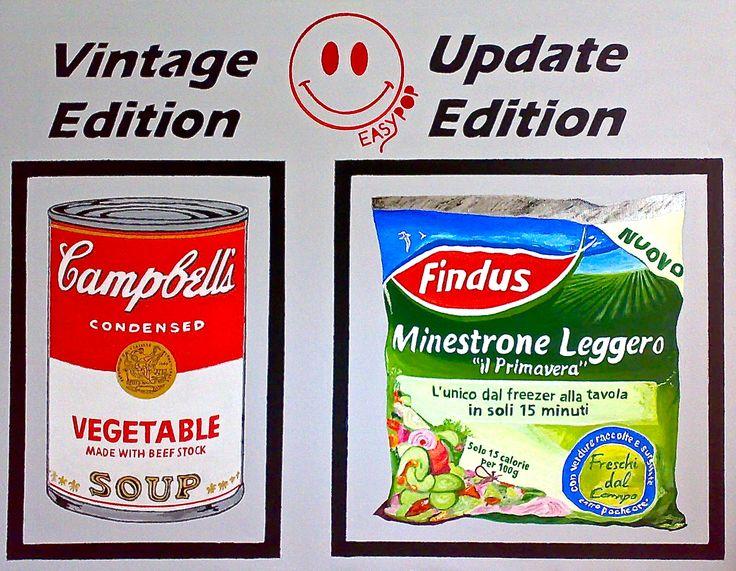 L'acuta ironia di Easypop prende come riferimento, questa volta, un celeberrimo simbolo della Pop Art: la minestra in scatola di Warhol. Un' opera riproposta ossessivamente, in una sorta di bombardamento mediatico volto a condizionare il pensiero comune. In essa Easypop scava a ricercare un' idea nu Pittura Natura morta / Oggetto Acrilico - Artista easypop (Roma Italia) -  Pittura & Disegno Premio Celeste 2014