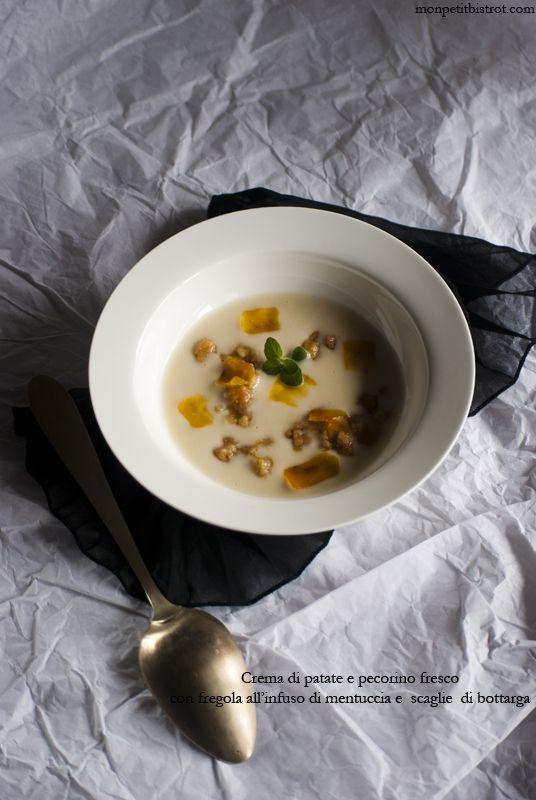 Crema di patate e pecorino fresco con fregola all'infuso di mentuccia e scaglie di bottarga