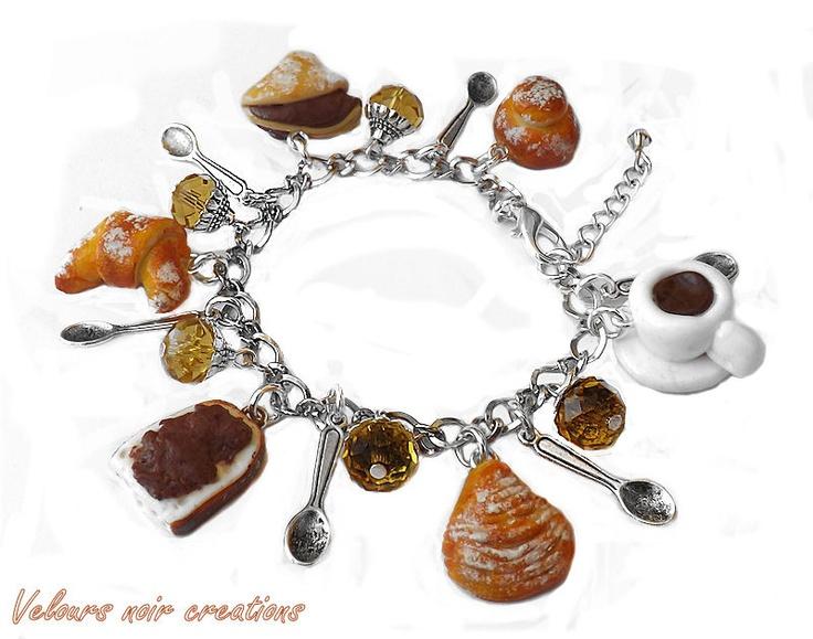 bracciale breakfast con ciondoli creati a mano in fimo ,cornetto,sfogliatella ,crepes,pane e nutella,brioche