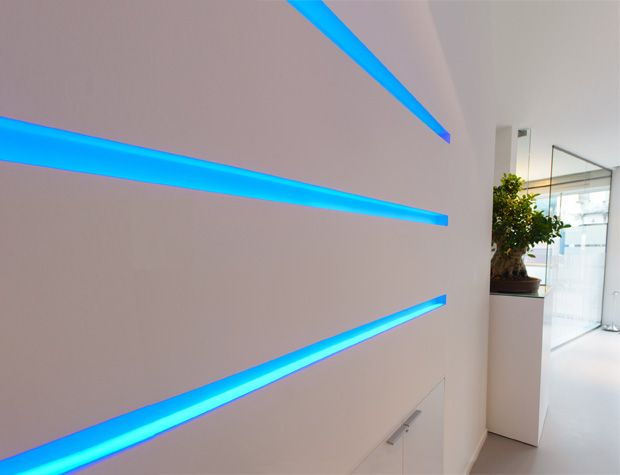 Micro Blade recessed profile lighting in pure plaster. Go to the website to see the installation video....