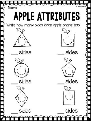 Shape attributes worksheet and a lot of other geometry activities to practice 2D shapes in a fun apple theme