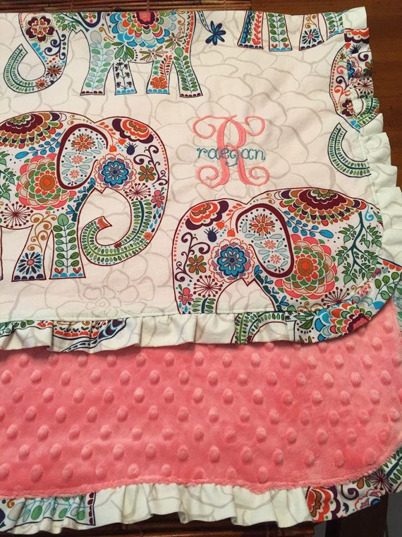 Elephants and Pink Coral Minky Dot Baby Blanket by OurFinestHours