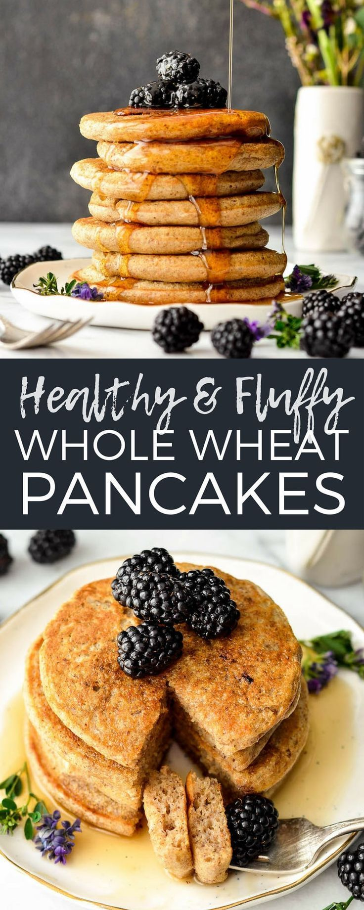 These Fluffy Whole Wheat Pancakes With Ground Flaxseed And Greek Yogurt Or Buttermilk Will Whole Wheat Pancakes Healthy Pancake Recipes Wheat Pancake Recipe