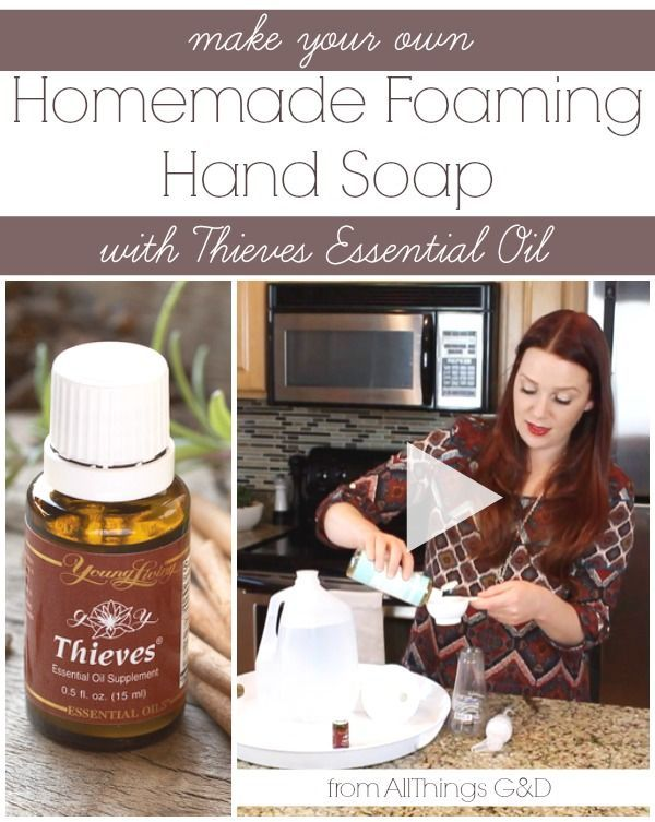 Make your own all-natural homemade foaming hand soap using Young Living's Thieves essential oil - it's easier than you think! {includes video tutorial}   www.allthingsgd.com