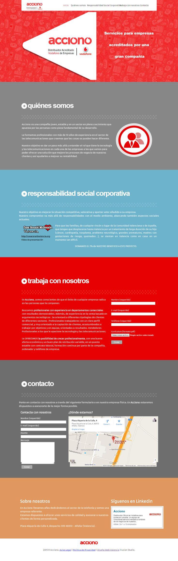 Proyecto de #diseño #web para la empresa Acciono, distribuidores oficiales de #Vodafone empresas. Es una #landingpage perfecta para mostrar limpiamente sus diferentes secciones a cerca de lo que hacen, cómo lo hacen y de qué manera se puede participar con ellos.