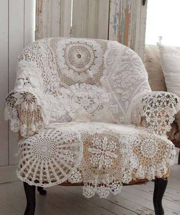 Cover an old chair with vintage crocheted doilies, sewn together ~ 18 DIY Shabby Chic Home Decorating Ideas on a Budget