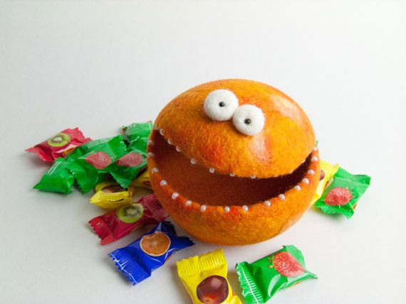 Felt Candy Bowl / Soft Container  Orange by felttess on Etsy, $22.00