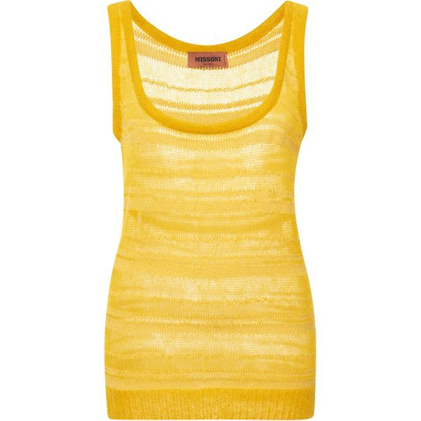 Macrame Mohair Tank | Moda Operandi ❤ liked on Polyvore featuring tops, yellow tank top, scoopneck tank, scoop neck tank, yellow crochet top and crochet tank top
