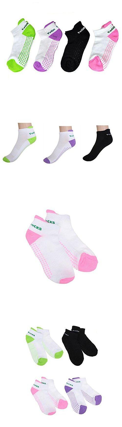 Women Girls 4Pcs Colorful Non Skid Anti Slip Grips Dots Yoga Pilates Socks Sports Gym Dance Exercise Foot Massage Socks