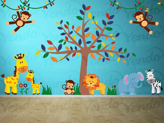 Wall Decal - Jungle Decal - Jungle Wall Decal - Giraffe, Elephant, Monkey, Lion, Zebra - Baby Boys Girls Bedroom Room