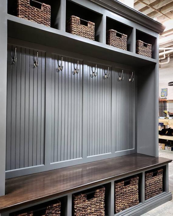 Awe Inspiring The Dublin Gray Mudroom Lockers Bench Storage Furniture Creativecarmelina Interior Chair Design Creativecarmelinacom