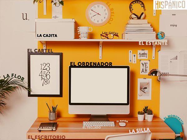 Learn spanish words with this desktop wallpaper. DOWNLOAD FOR FREE: http://hispanico.pl/edukacyjna-tapeta-na-pulpit-biuro-nauka-hiszpanskich-slowek // #Hiszpania #tapeta #pulpit #spain #spanish #espanol #espana #wallpaper #desktop #words #learn #office #desk