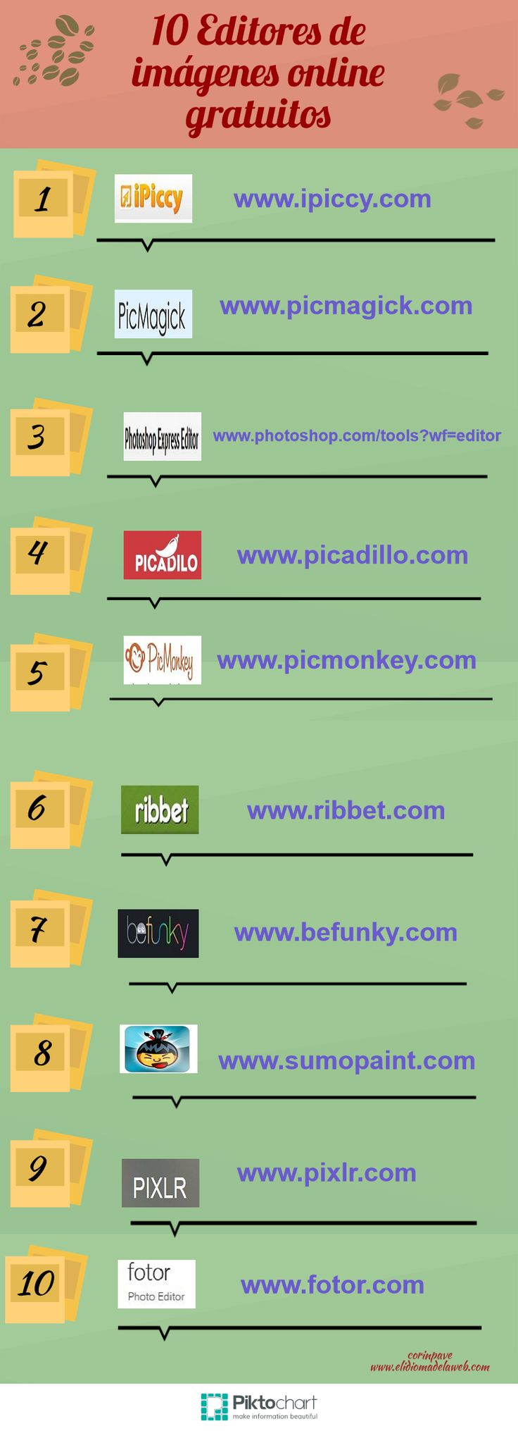 RT @alfredovela: '10 editores de imágenes online gratuitos #infografia #infographic '