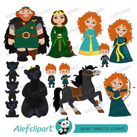 Clipart, принцесса Digital клипарт, принцесса Clipart, Храбрый Clipart, Мерида Клипарт