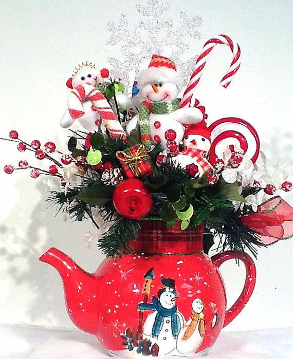 Snowman Teapot Centerpiece Floral Arrangement Sweet Treats Christmas