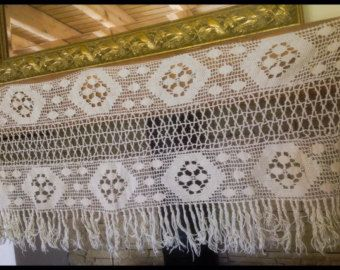 """Check out One Vintage, Shabby Chic, Filet Crochet, Mantlepiece Cover, Cafe Curtain  Pelmet Cover with Fringed  edge. 48"""" long, 20"""" wide . on fleursenfrance"""