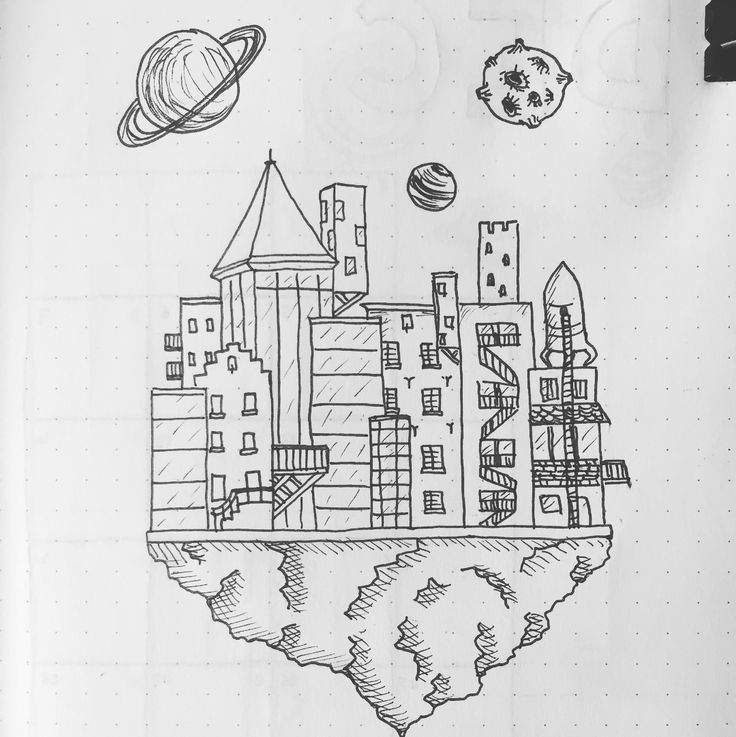 Bullet journal cover page for December. Drawing of a dystopian world. Follow me on Instagram: @sidstumpel