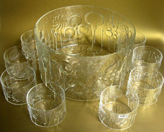 Mid-Century Nuutajarvi Flora Punch Bowl Set w/ by CedarRunVintage
