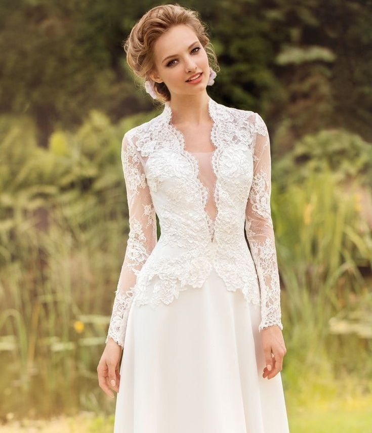 Noble A line Lace White Bride Gowns Long Sleeve V neck Wedding Dresses Custom