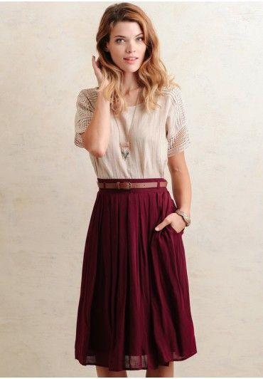 Day Book Pleated Midi Skirt In Burgundy | Modern Vintage New Arrivals | Ruche