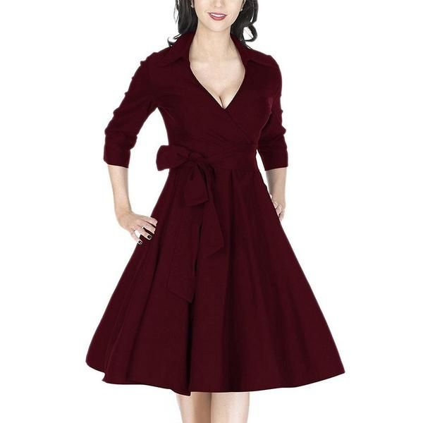 039c27d80450 Wine Red V-Neck 3 4 Sleeve Length Swing Dress.  women  summer  casualdress   womenfashion  summerstyle  summertime  minidress  stylish  outfit   summeroutfits