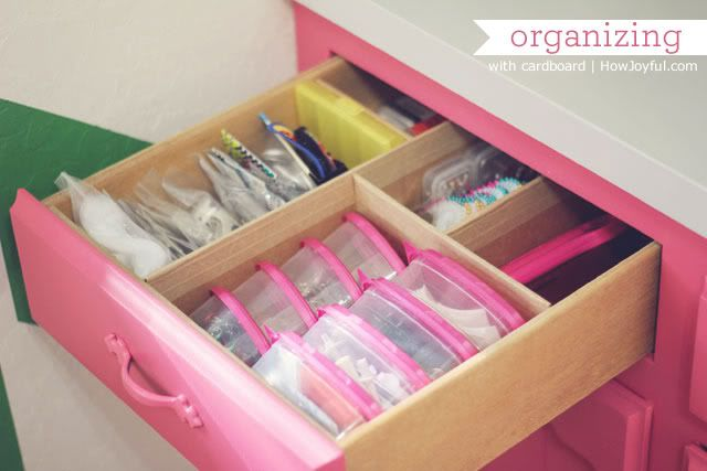 Organizing drawers and awkward spaces with cardboard. See this site for pictures and directions.