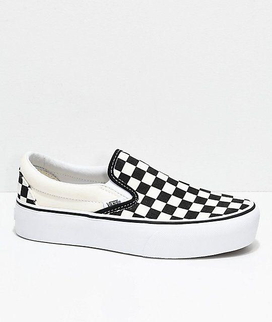 Vans Slip-On Black   White Checkered Platform Skate Shoes in 2019 ... b35c570ac2