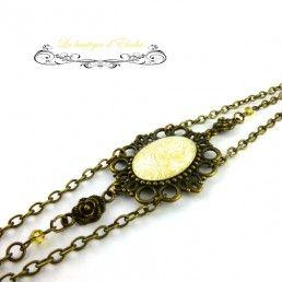 Headband chaine rétro jaune et blanc, fleurs