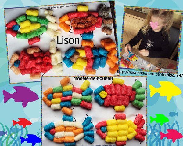 Poissons de Lison réalisé avec des flocons de maïs explications et coloriage à imprimer sur mon blog
