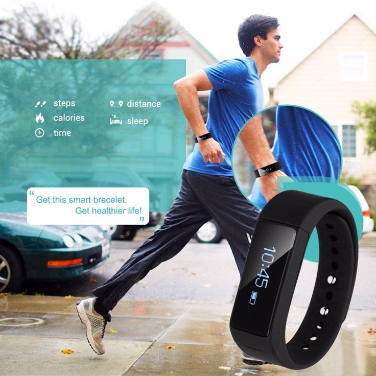 Bluetooth gps rastreador podómetro pulsera de la venda de reloj elegante deporte de fitness