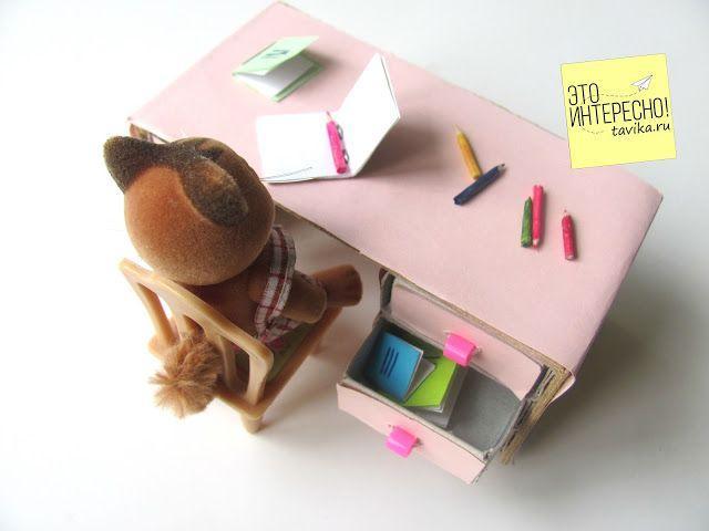 Игрушечная мебель своими руками. Письменный стол из спичечных коробков