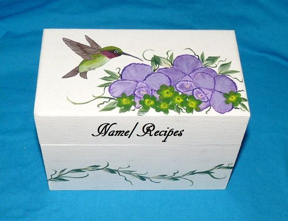 Recipe Box Wood Recipe Card Box Painted by EssenceOfTheSouth, $58.50