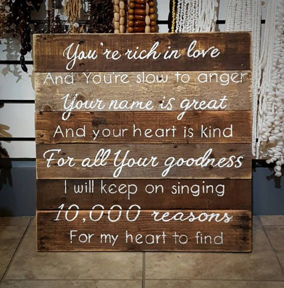 Hand Painted Wood Pallet Sign  10000 Reasons by SignatureStatement