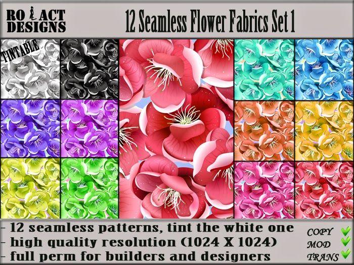 Ro!Act Designs 12 Seamless Flower Fabrics Set 1