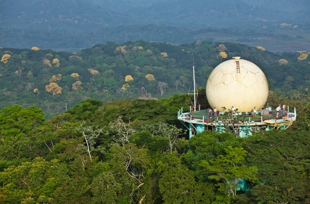 Canopy Tower at Soberania National Park, Panama. Originally a US Air Force radar station, it was converted into a birding lodge in 1999.