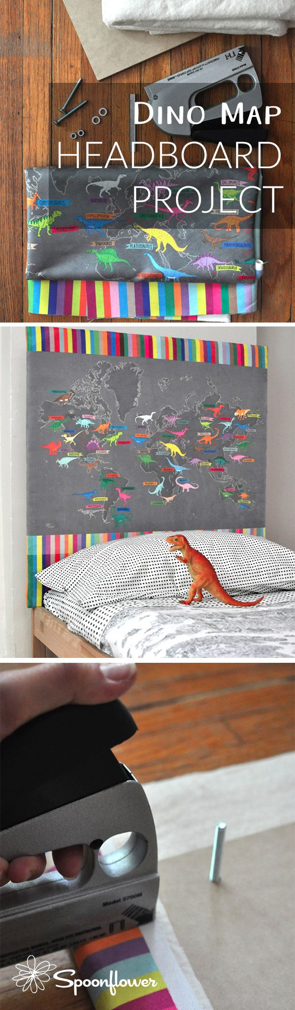 Dino Map Headboard Project - See how fabric designer, artist, and mama extraordinaire Samarra Khaja (SammyK on Spoonflower) created this dino map headboard for her son out of our new Faux Suede fabric and learn how to make a DIY headboard of your own!