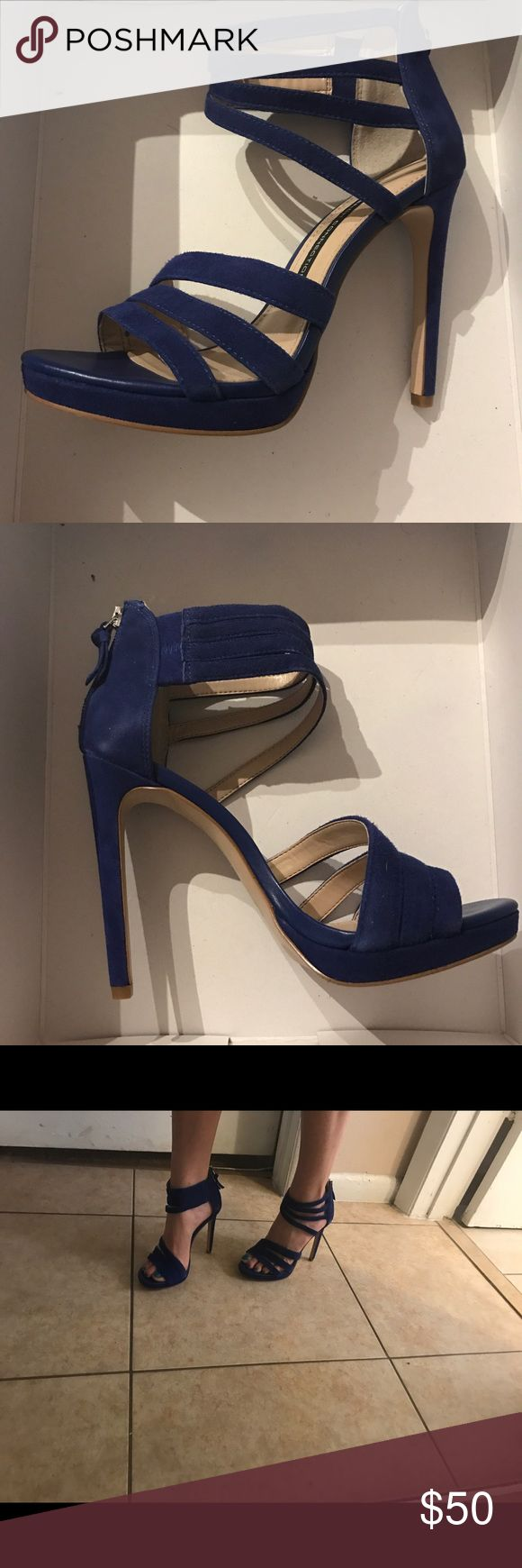 """French connection sexy heeled sandals Sexy and fun cobalt blue heeled sandals by French Connection! Add a pop of color to any outfit. In perfect condition, very high quality shoe 👠 5"""" heel French Connection Shoes"""