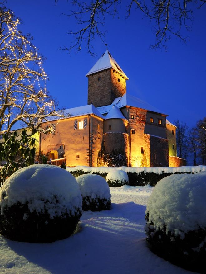 Hotel Burg Wernberg. Wernberg-Köblitz, Germany. #relaischateaux #castle #snow #night #hotel #germany #Wernberg