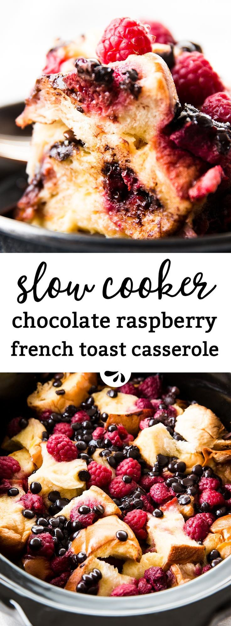 This Crockpot Raspberry Chocolate Chip French Toast Casserole is a simple brunch dish that feels extra special. So decadent with the chocolate and raspberries! (Slow Cooker Bake Oatmeal)