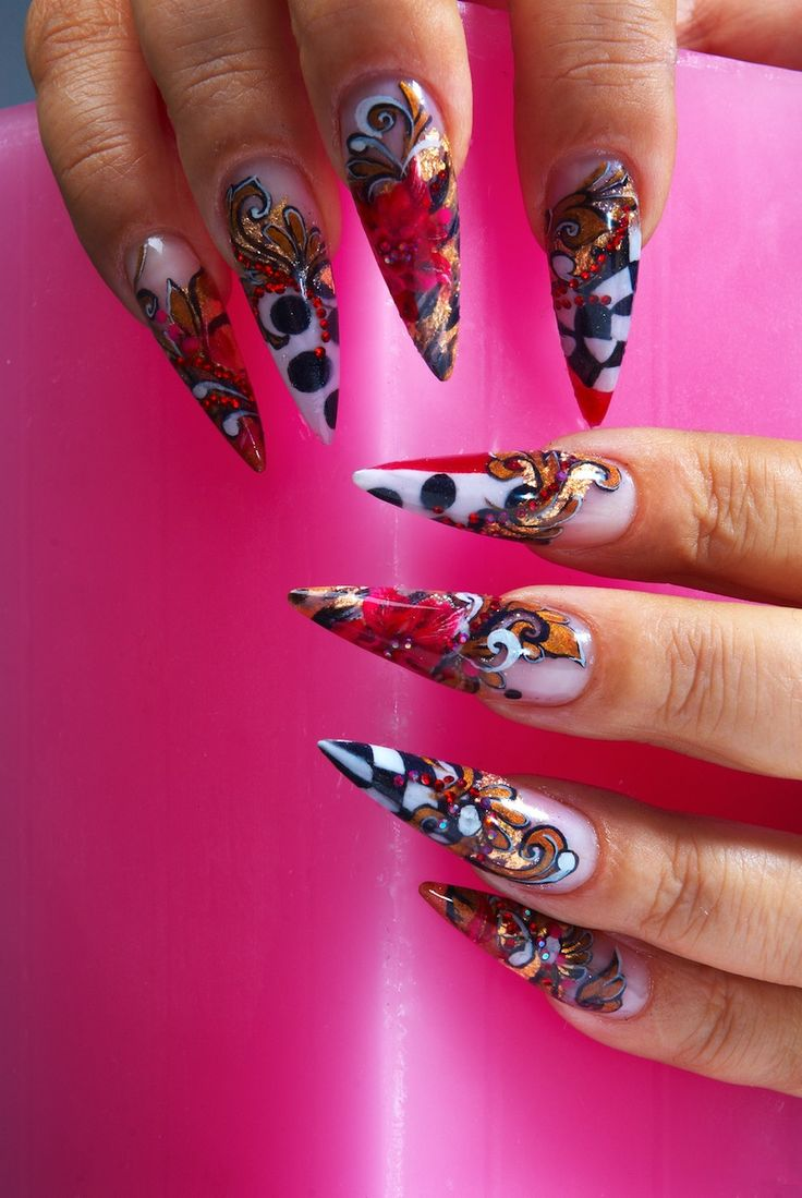 Stiletto Nails Fake Nails Matte Nails Blue Press On Nails: Red And Black Stilleto Nail Designs