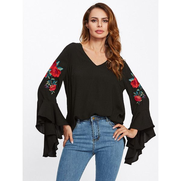 SheIn(sheinside) Flounce Sleeve Flower Embroidered Blouse (€13) ❤ liked on Polyvore featuring tops, blouses, black, flutter sleeve top, flutter sleeve blouse, long sleeve tops, long sleeve ruffle blouse and ruffle sleeve top