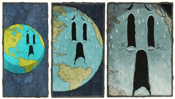 Et si la terre se faisait ausculter par un médecin, quel serait son bilan ? C'est l'idée mise en scène par l'artiste Steve Cutts dans cette planche de bande dessinée humoristique.