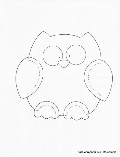 ~good for quilt outline, embroidery or cut out and make a felt owl (sewing lines are shown)
