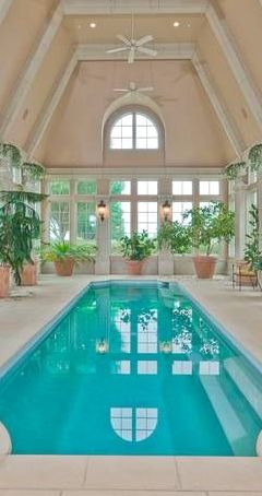 Indoor pool in Dallas mansion. Inviting for morning lap swimming. Feng Shui.